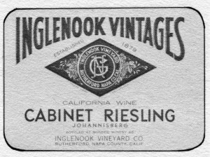 Old Cabinet Riesling Label, Image from The 11th Heublein Premiere National Auction of Rare Wines, 1979.