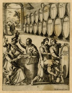 A drinking party in a wine cellar. Print by Antonio Tempesta, published by Nicolas van Aelst. 1580-1613. #1874,0808.2148. The British Museum.