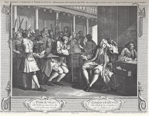 """The Industrious 'Prentice Alderman of London, the Idle one brought before him & Impeach'd by his Accomplice"", William Hogarth, 1747. Image from Wikipedia."
