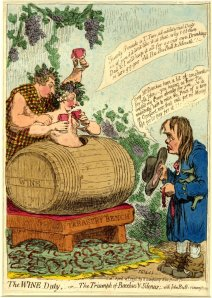 """The wine duty, -or- the triumph of Bacchus & Silenus; with John Bulls remonstrance"" James Gillray, 1796.  Item #1868,0808.6520, The British Museum."