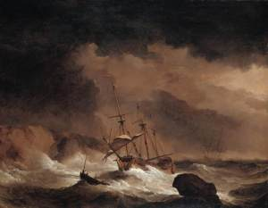 An Indiaman in a Gale off a Rocky Coast. Willem van de Velde, the Younger. Private Collection. Web Gallery of Art.