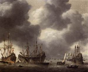 Nooms, Reiner. Merchant Vessel at Anchor. 1658.  Akademie der bildenden Künste, Vienna. From Web Gallery of Art.