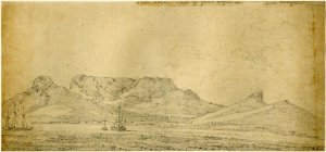 Table Mountain, Cape of Good Hope. Richard Cooper II After William Hodge. 1740-1814. #1867,1214.761. The British Museum