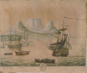 View of the Cape of Good Hope. Elisha Kirkall after George Lambert. 1734. #2010,7081.2468. The British Museum.