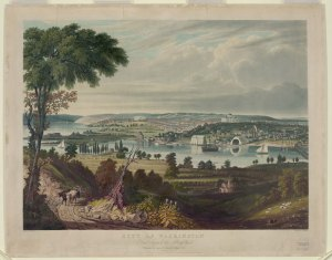 City of Washington from beyond the Navy Yard. Bennett, W. J. 1833. No LOT 4386-A. Library of Congress Prints and Photographs Division.