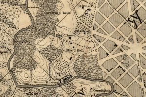 Crop from Topographical map of the District of Columbia. McClelland, Blanchard & Mohun, 1861. No. G3850 1861 .B6.  Library of Congress Geography and Map Division.