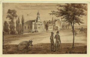Near Pennsylv. Ave. and 7th St. At Washington City. Kollner, Augustus. 1839. No. DRWG/US - Kollner, no. 13.  Library of Congress Prints and Photographs Division.