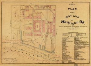 Plan of the Navy Yard at Washington, D.C. June 1, 1891. No. G3852.W352 1881 .P5.Library of Congress Geography and Map Division.