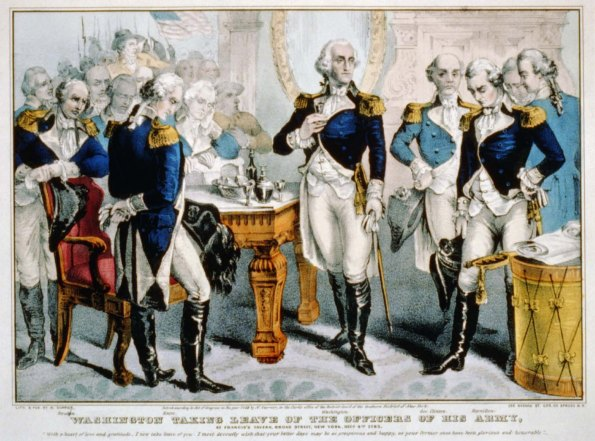 Washington taking leave of the officers of his army: at Francis's Tavern, Broad Street, New York, Decr. 4th. 1783. Library of Congress.