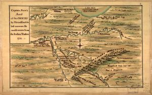 Captain Snow's scetch of the country by himself, and the best accounts he could receive from the Indian traders. 1754.  No. G3820 1754 .S6. Library of Congress Geography and Map Division.