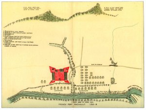 French Fort Machault.  Image from REPORT OF THE COMMISSION TO LOCATE THE SITE OF THE FRONTIER FORTS OF PENNSYLVANIA, 1896.