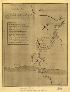 """George Washington's map, accompanying his """"journal to the Ohio"""", 1754. From Google Images."""