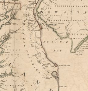 Crop from A map of the most inhabited part of Virginia containing the whole province of Maryland.  Fry, Joshua. 1755. Image from Library of Congress Geography and Map Division.
