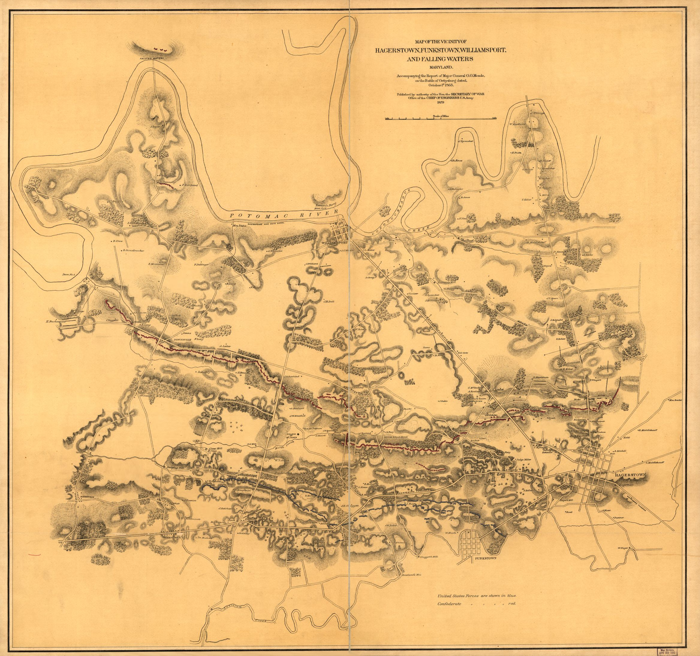 Map Of The Vicinity Of Hagerstown Funkstown Williamsport And Falling Waters Maryland