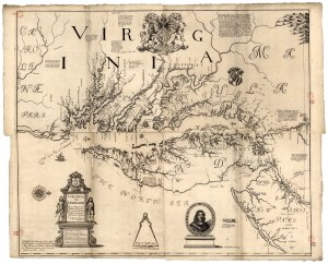 Virginia and Maryland. Herrman, Augustine. 1670.  Image from the Archives of Maryland sourced from Library of Congress.