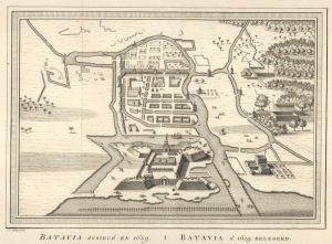 Batavia Assiece en 1629 / Batavia A°.: 1629 Belegerd. Bellin, Jacques Nicolas. Call Number:G 8074 .D3 1629 .B45. Image from Northern Illinois University Libraries.