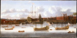 East India Company ships at Deptford. c. 1660. Object ID BHC1873. National Maritime Museum, Greenwich, London, Caird Collection.