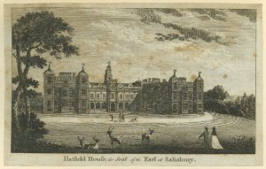 Hatfield House, the Seat of the Earl of Salisbury. 1750-1800. 1927,1126.1.29.79.  Image from The British Museum