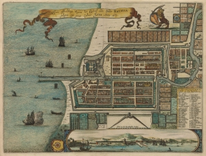 Ware affbeeldinge wegens het casteel ende stadt Batavia gelegen opt groot eylant Java anno 1669. Montanus, Arnoldus. 1669. Image from Historic Maps Collection, Princeton University Library.