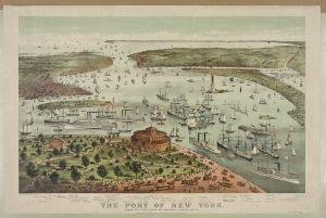 The Port of New York--Birds eye view from the Battery, looking south. Currier & Ives. c1892.  Image from Library of Congress Prints and Photographs Division.