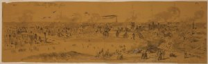 Columbia the morning after the fire.  Waud, William. February 18, 1865. Morgan collection of Civil War drawings (Library of Congress)