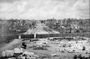 Ruins seen from the capitol, Columbia, South Carolina, 1865.  Barnard, George N. 1865.  Image from Wikipedia sourced from National Archives and Records Administration.