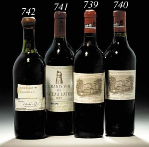 #742 Chateau Margaux - Vintage 1865.  Sale 9550 - The Magnificent Cellar of Lenoir M. Josey. 30 November - 1 December 2000. Image from Christies.