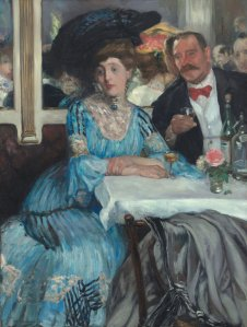 At Mouquin's.  William Glackens. 1905.  At The Art Institute of Chicago.  Image from www.wikipaintings.org.