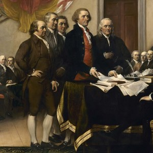 Detail showing John Adams on left. Declaration of Independance. John Trumbull. 1817. Image from Wikipedia.