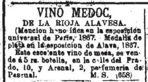 Vino Medoc from Diario oficial de avisos de Madrid. 4-1-1868.