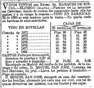 Old Vintages Still Available in 1885. El Día (Madrid. 1881). 1-3-1885.