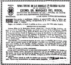 Vinos Tintos from La Correspondencia de España. 11-10-1922, no. 23,415.