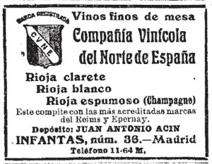C.V.N.E. advertisement from La Época (Madrid. 1849). 10/4/1922, no. 25,672, page 3.