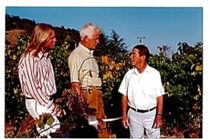 Joel Peterson, Joseph Swan, Andre Tchelistcheff. circa 1974. Image via Rare Wine Co from Joseph Swan Winery.