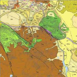 Crop from Geologic Map of the Sebastopol 7.5' Quadrangle. Version 1.0. California Geologic Survey. 2008.