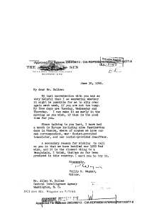 LETTER TO MR. ALLEN W. DULLES FROM PHILIP M. WAGNER. [4]