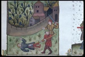 Parabole des vignerons homicides. Speculum humanae salvationis. de Choquez, Jacques. 1462. #Ms 245, f. 142. Bibliotheque Municipale de Lyon.