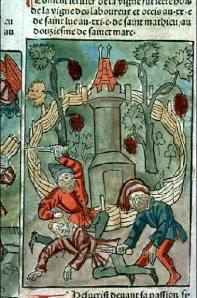 Parabole des vignerons homicides. Speculum humanae salvationis. 1482. #Rés Inc 1043, f. 421v-422. Bibliotheque Municipale de Lyon.
