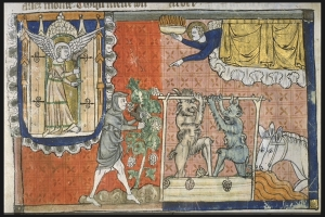 Ange sortant du Temple et Ange tenant le feu de l'autel ordonnant la vendange divine. Vendange divine. 1220-1270. [1]