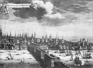 A Prospect of the City of London, 1724 (with key). PAH9880. National Maritime Museum, Greenwich, London.
