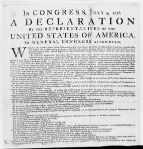Continental Congress, July 4, 1776, Printed Declaration of Independence. George Washington Papers at the Library of Congress, 1741-1799: Series 4. General Correspondence. 1697-1799.