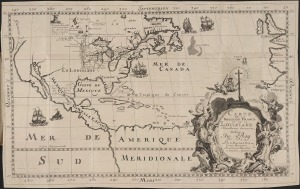 Carte de la nouvelle France et de la Louisiane nouvellement decouverte dediee au Roy l'An 1683. Hennepin, Louis. 1683. Beinecke Rare Book & Manuscript Library. Yale University Library.