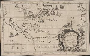 Carte de la nouvelle France et de la Louisiane nouvellement decouverte dediee au Roy l'An 1683. Hennepin, Louis. 1683. Beinecke Rare Book & Manuscript Library. Yale University Library.