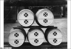 Five barrels of wine being sent to the Red Cross, a gift from Penfold & Co. of South Australia during World War I.