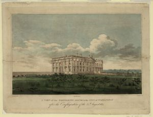 A view of the Presidents house in the city of Washington after the conflagration of the 24th August 1814. Strickland, William. 1814. Library of Congress Prints and Photographs Division.