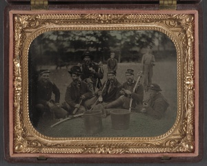 Six unidentified soldiers in 45th Ohio Infantry Regiment officers' uniforms with sabers. 1862-1865. [1]