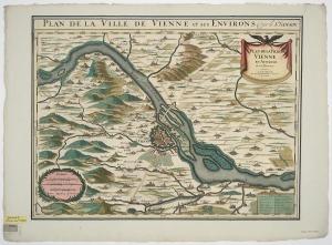 Umgebungskarte von Wien, 1:95 000, Radierung, nach 1692. [2]
