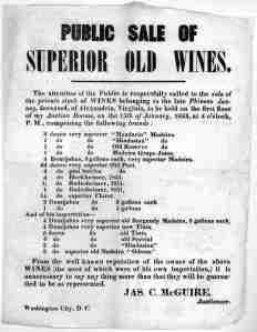 Public sale of superior old wines ... Jas. C. McGuire, Auctioneer. Washington City, D. C. [1853]. The Library of Congress. [2]