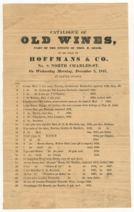 Catalogue of old wines, part of the estate of Thos. B. Adair. December 3, 1845. Duke University. [1]