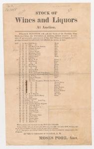 Stock of wines and liquors at auction. ca. 1855. Duke University. [3]
